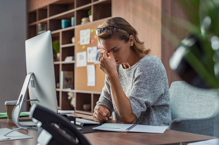 woman stressed out at work